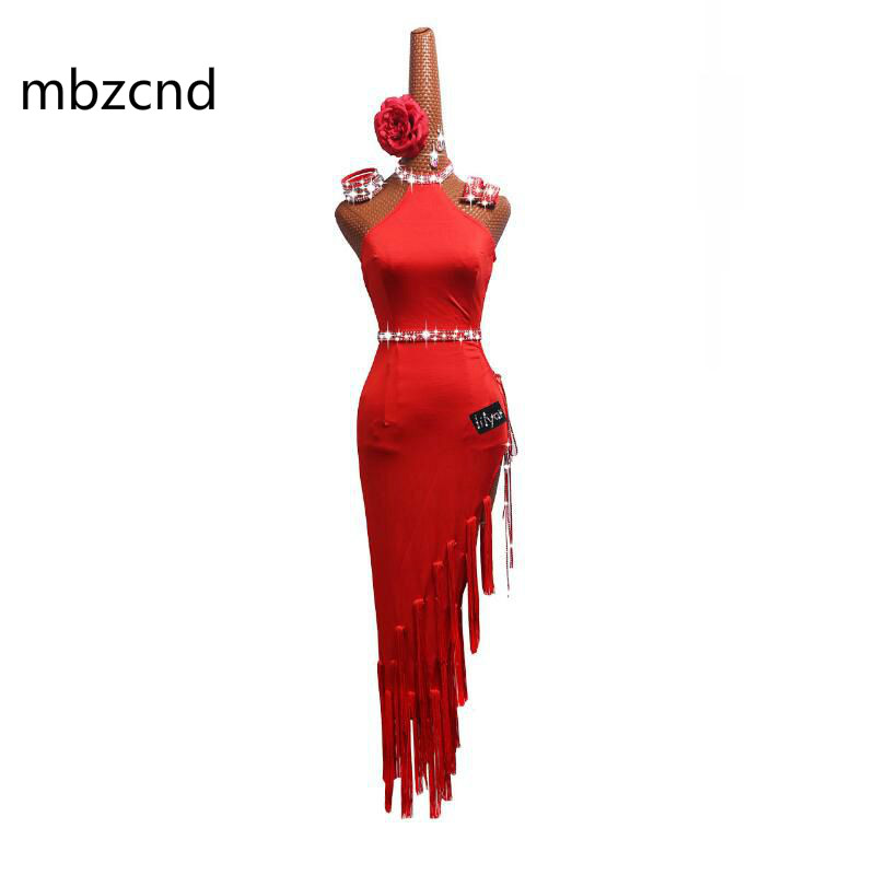 Latin Dance Dress Women Performance Clothing Red Sexy Slim High-cut Chinese Style Strapless Latin Dresses Female Costumes