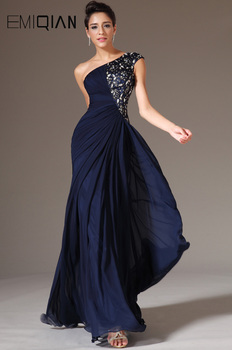 Crystal Beaded Evening Gowns,One Shoulder Mermaid Navy Blue Chiffon Dresses - discount item  38% OFF Special Occasion Dresses
