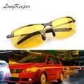 LongKeeper nuevo amarillo lente de la visión nocturna de conducción gafas hombres polarizado gafas de sol de conducir gafas reducir el deslumbramiento