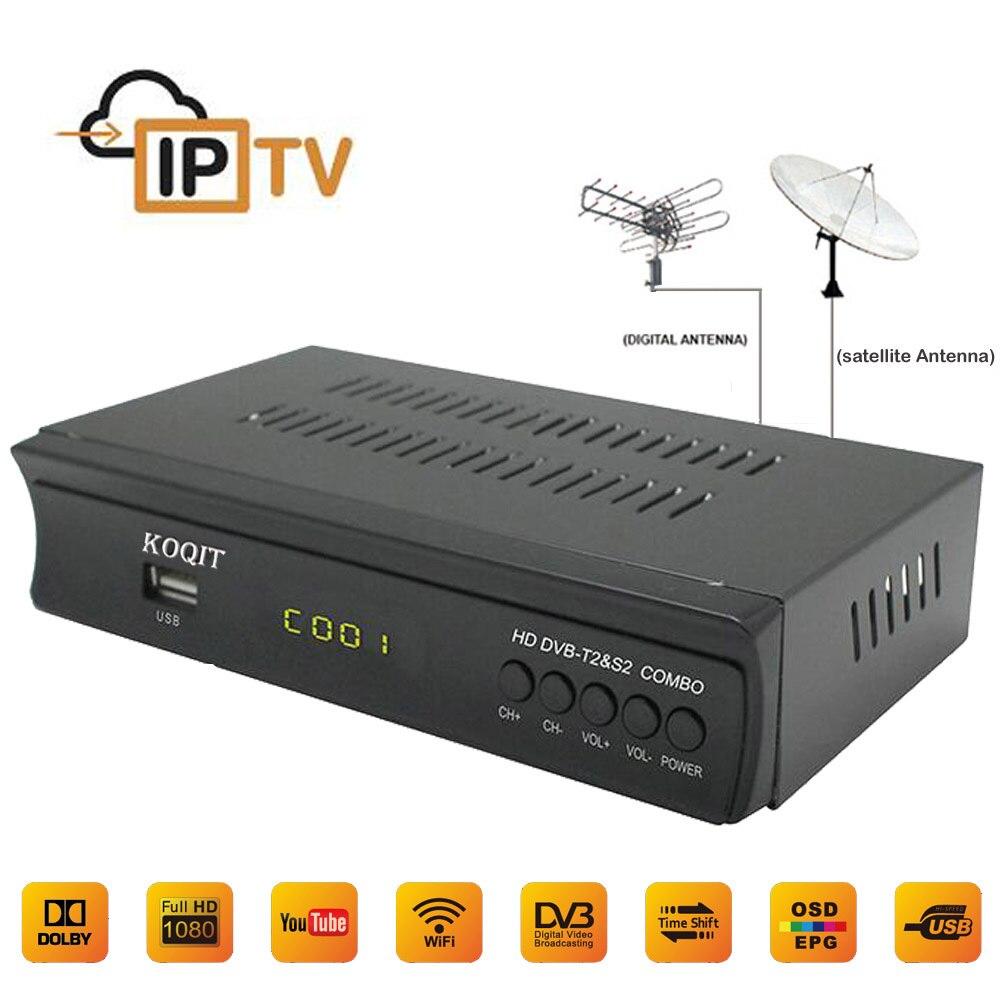 2018 HEIßER Digitalen Terrestrischen Broadcast Satellite TV Rezeptor Dvb-T2 Dvb-S2 Tv Tuner IPTV Combo Youtube CS Schlüssel H.264 AC3 Wifi 3G