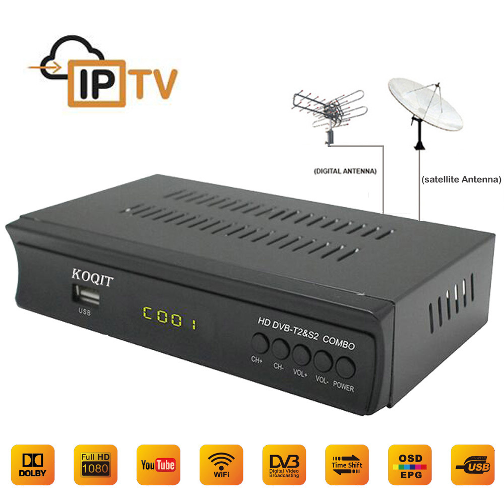 2018 HOT Digital Terrestrial Broadcast Satellite TV Receptor Dvb-T2 Dvb-S2 Tv Tuner IPTV Combo Youtube CS Key H.264 AC3 Wifi 3G
