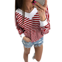 Striped Women Blouse Shirt Long Sleeve Autumn 2017 Pullovers Casual Tops Tee Shirts Blusa Tunic WS1891U