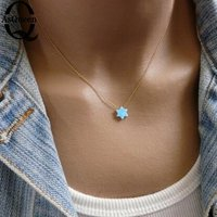 2016 New Fashion Jewish Jewelry Star Of David Opal Pendant Necklace Women Men Necklace
