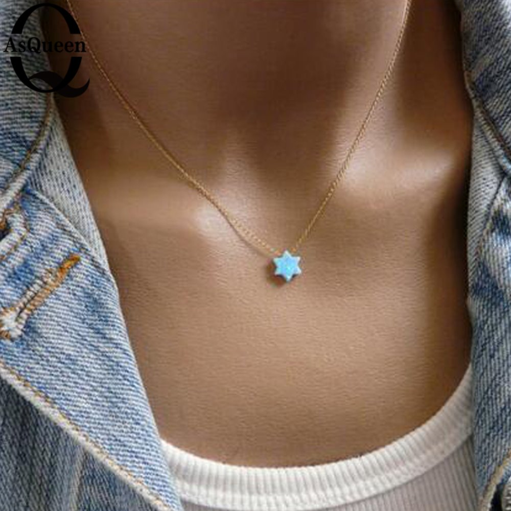 2018 New Fashion Jewish Jewelry Star of David Opal Pendant Necklace Women Men Necklace
