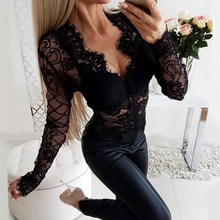Hot Sale 2019 Fashion Black Sexy Patchwork Slim Playsuit Women Hollow Out Lace V-Neck Long Sleeve Bodysuit black sexy v neck lace details playsuit