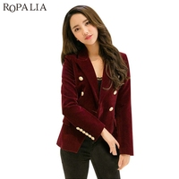 Women Autumn Velvet Blazer Slim Long Sleeve Office Formal Work Small Suit Jacket Blazers