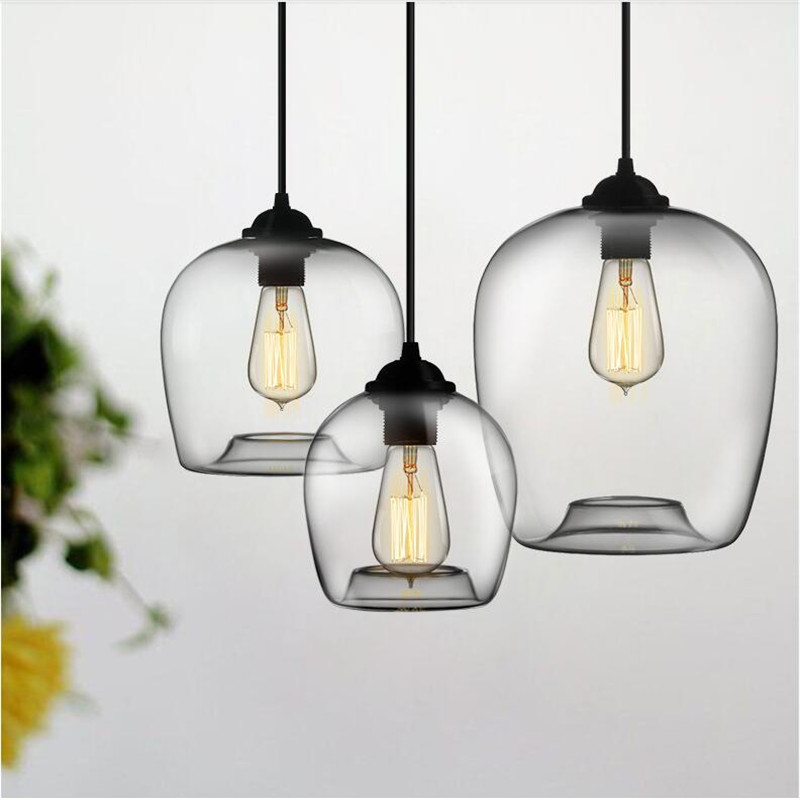 Handmade Vintage Brief 4 Colors Crystal Glass LED E27 Pendant Light For Dining Room Restaurant Bar Pendant Lamp AC80-265V 1441 loft vintage edison glass light ceiling lamp cafe dining bar club aisle t300