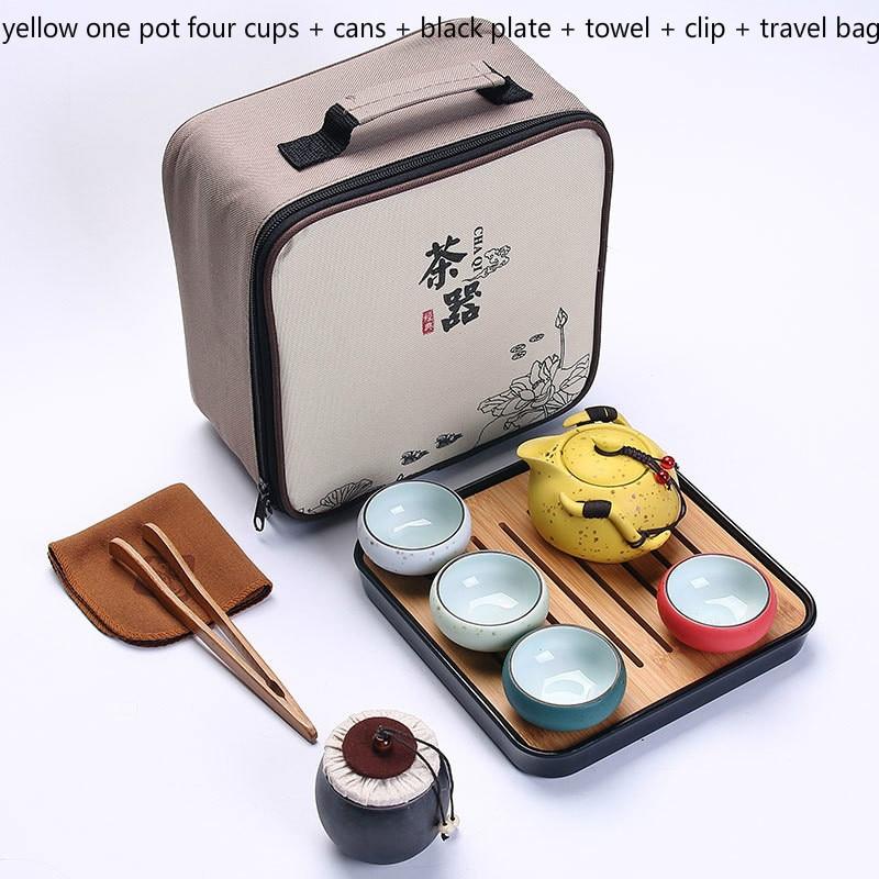 Juego de té de viaje 6 uds taza de porcelana de doble pared creativa flor dragón Moutain tetera Kung Fu juego de té Teaware A