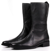 Удобные черные зимние сапоги до колена на молнии, мужские повседневные сапоги, сапоги из натуральной кожи, мужские мотоциклетные сапоги