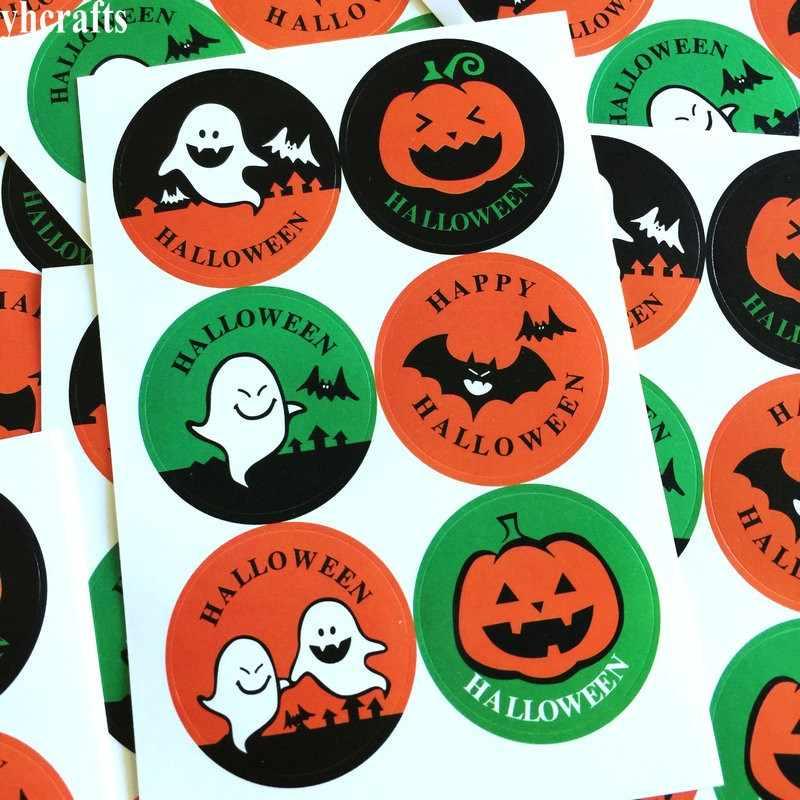 6 sztuk/partia. Dynia duch nietoperz papieru naklejki Halloween pieczęć pieczęć naklejki materiał Craft DIY etykiety naklejki ścienne lodówka wylot