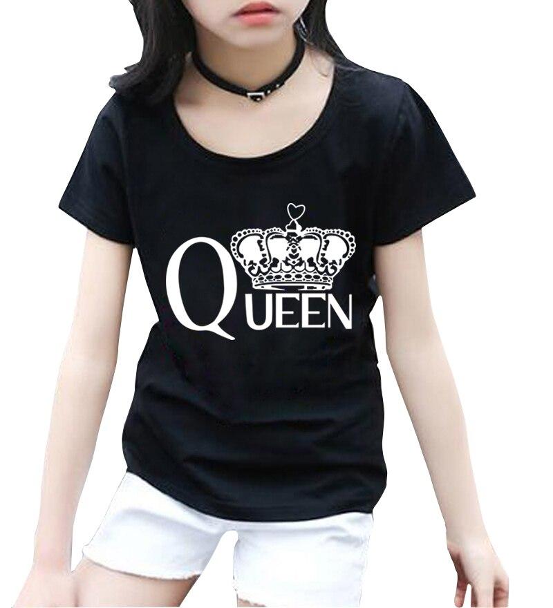 2018 Parti Superiori Di Estate Queen Pinting Streetwear T Shirt Manica Corta Casual Bambini Homme Abbigliamento Nuove Ragazze Di Modo Camicie Pantaloni A Vita Bassa Pp