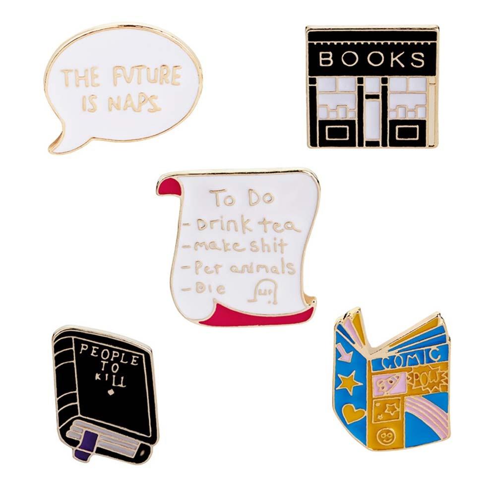 MJARTORIA Creative Animals Bees Pins Women Badge Collar Jacket Shoe Lips Book Brooch Pins Gils Decorative Clothing Bag Gifts