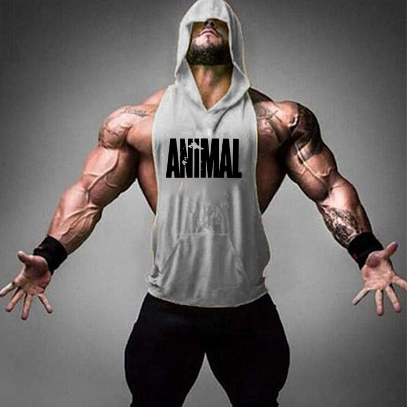 Muscle Mens  Gym Sports Sleeveless Hooded Vest Tank Tops Fitness Running Clothes Canotta Musculation Singlet Tank Top 2019