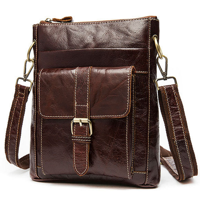 Men Genuine Leather First layer Cowhide Retro Business Crossbody Shoulder Bag travel Purse Cigarette Case Cell Phone Pocket New