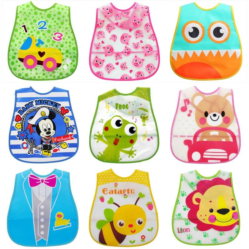 Baby EVA Waterproof Lunch Feeding Bibs Newborn Baby Cute Cartoon Cloth Towels