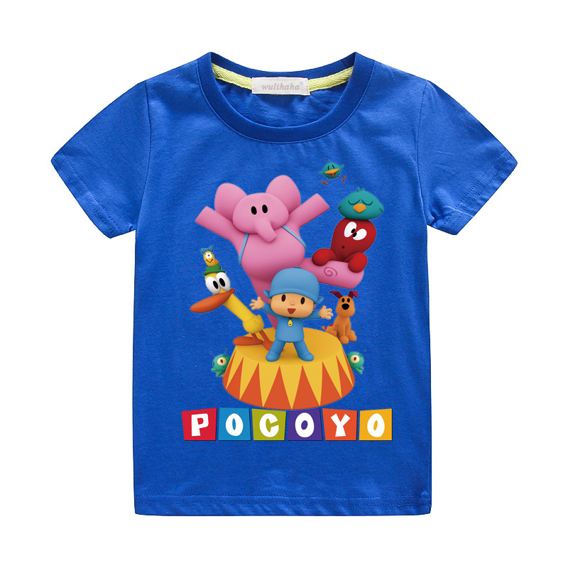 Girls Cute Cartoon Pocoyo Print T-shirts Costume Boys Short Sleeve Tshirts Clothing Children Summer Casual Tee Top Clothes ZA064 (8)