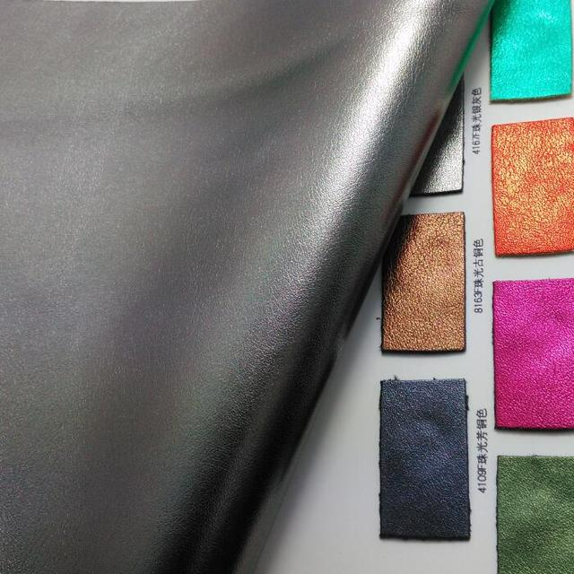 Pearlized Metallic Sheep Skin Synthetic Leather Faux Fabricpu Fabric For Sofa Handbags Shoes And