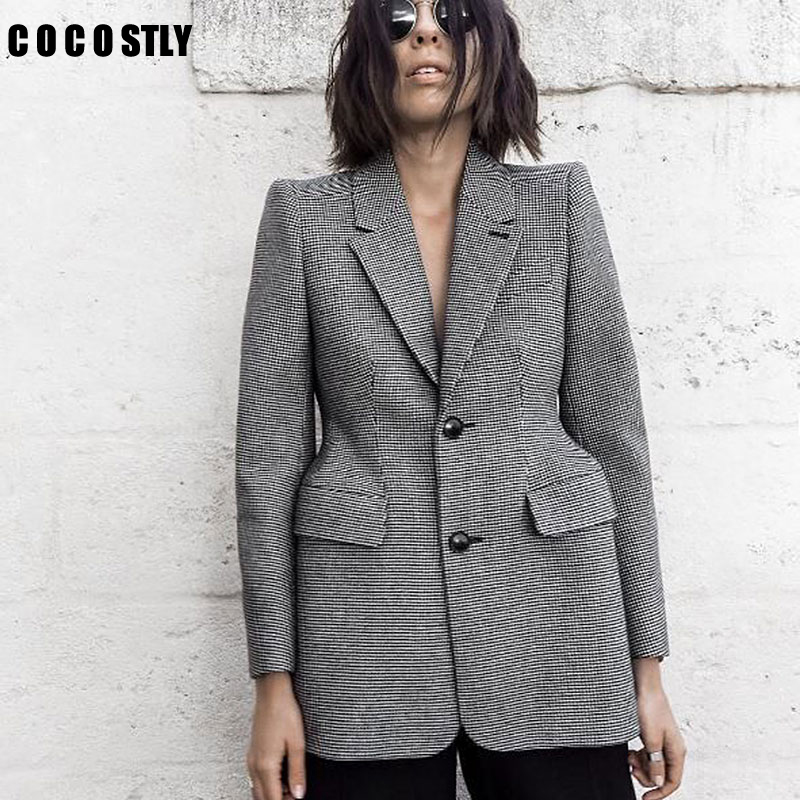 Plaid Blazer Women's Long Sleeve Lapel Collar Pocket Slim Female Coat Spring Office Women Blazers And Jackets Clothing Plus Size