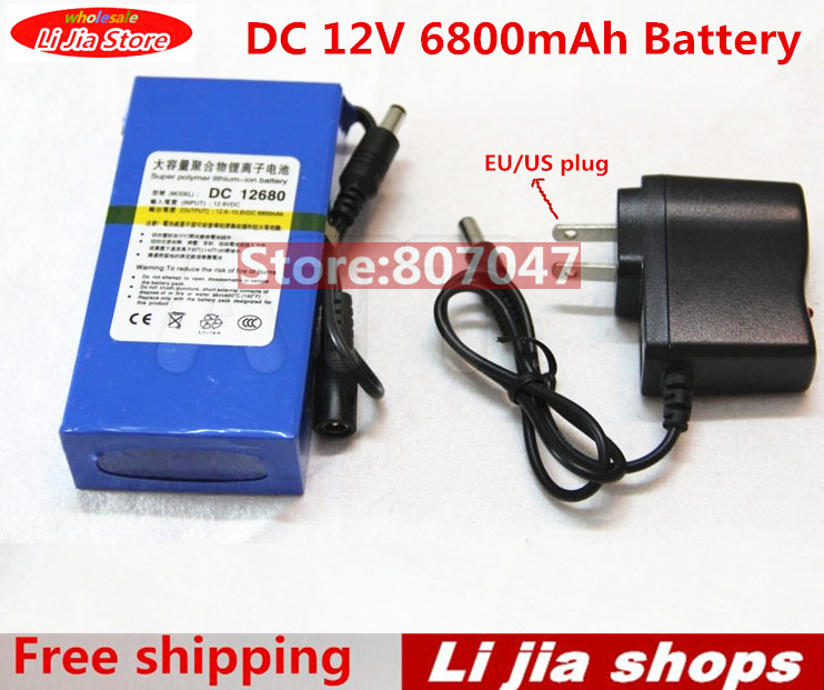 High Quality EU/US Plug DC 12V 6800 mAH Li-ion Rechargeable Battery Pack Charging Power Bank For GPS Car Camera Camcorders high quality super rechargeable portable lithium ion battery with case dc 12v 20000mah dc 122000 for cameras camcorders
