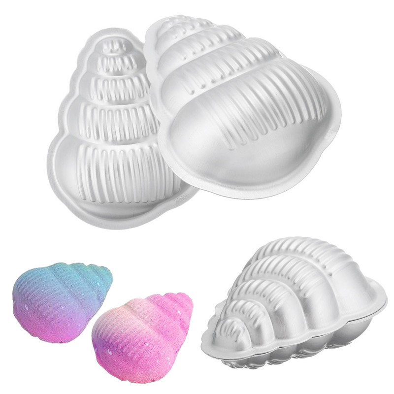 2Pcs/set Crafting Metal Bath Bomb Mold Aluminum Bath Bomb Mold Set Fizzy Conch Shape For DIY Pan Mold Tools