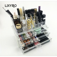 LIXYMO Cosmetic Makeup jewelry 3 drawers with top Organizer Storage Display Stand Case Rack Holder acrylic clear 1 pc