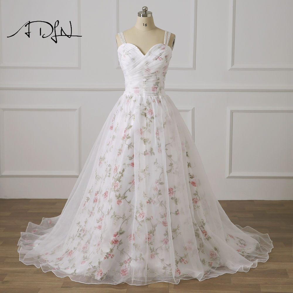 ADLN Plus Size Wedding Dress with Floral 2019 Organza Beaded A-line Bridal Gown Customized Vestido de Novia Robe de Mariage