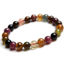 Wholesale Colorful Natural Tourmaline Bracelets For Women Lady Stretch Healing AAAA Round Bead Bracelet 7mm 8mm 9mm 10mm