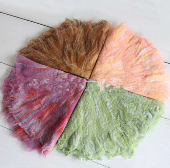 Wool Fluff Basket Liners  rainbow  color  sea, Spring,  Autumn Wool Basket filler,  Newborn Photography Prop Set