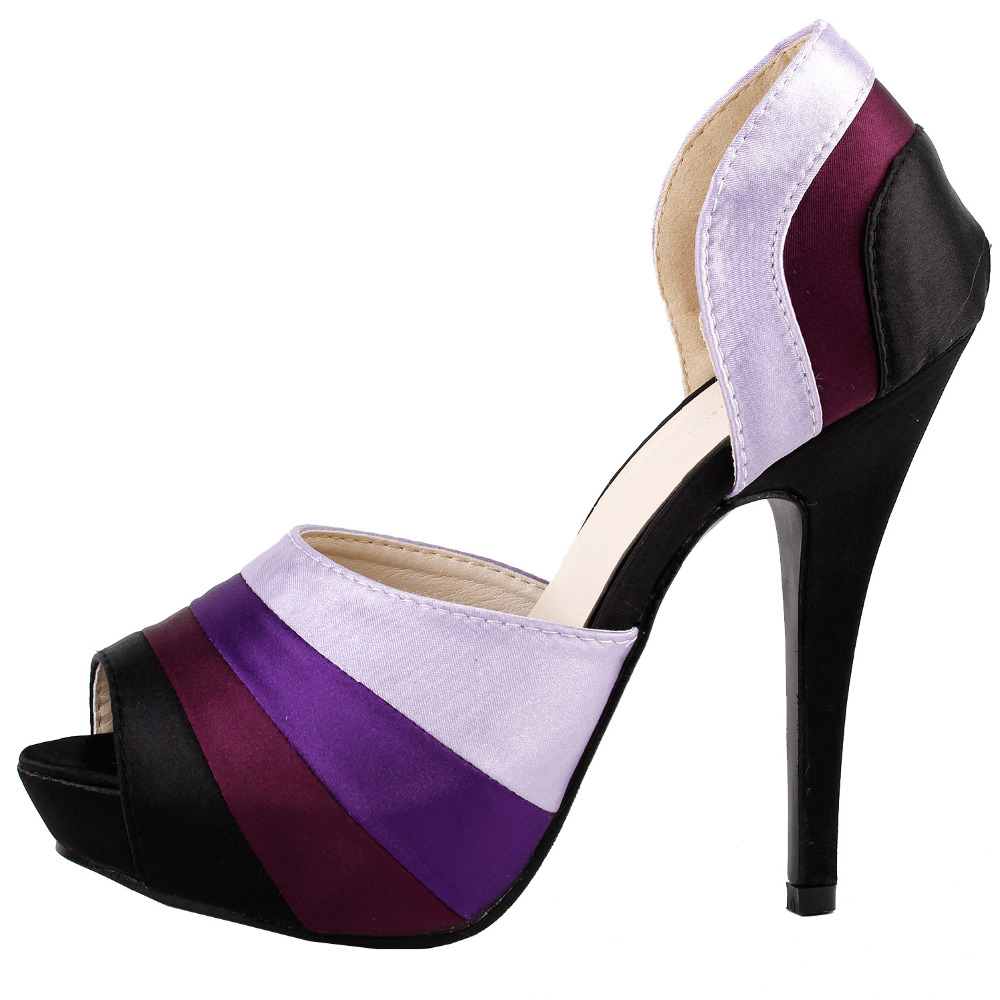 LF30477 Sexy Purple Pee Toe D Orsay Platform Stiletto Evening Pumps Size 4 5 6 7
