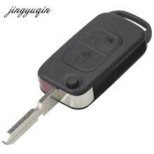 Jingyuqin 2 przycisk odwróć składany klucz Shell Case dla Mercedes Benz A C E S wejście HU39 zdalnego klucz pokrywa wymiana Car Styling