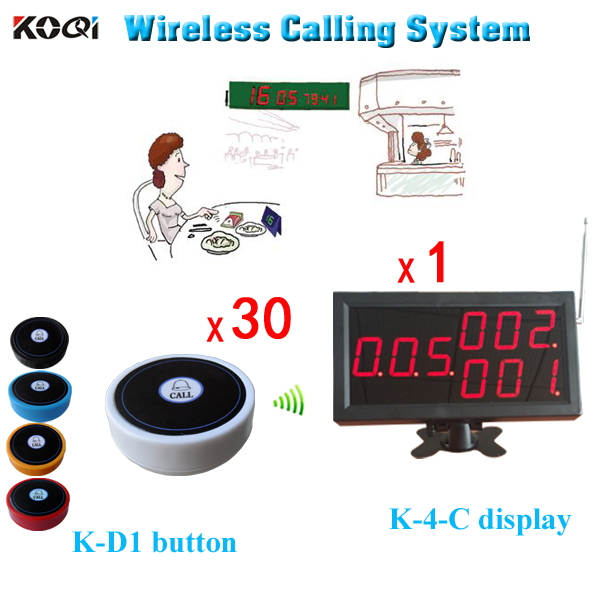 Button Call For Service Customer Waiting System 1 LED Big Display Service+30 Push Buzzers display signs and design button blouse button door - title=