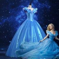 Hot movie cinderella dress adult princess cinderella costume halloween costume for women Evening party long Blue dresses