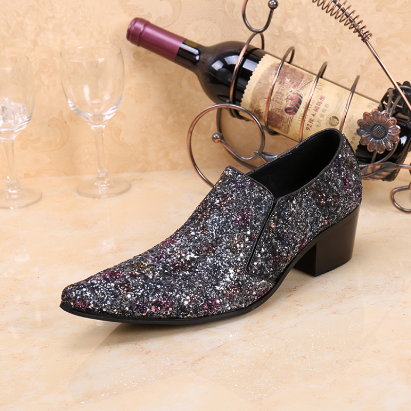 New Glitter Silver Pointed Toe Men Dress Shoes Wedding Party Leather Shoes Fashion Slip on Oxfords Men's Flats Big Size