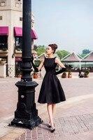 Customized Plus Size 7XL Women Party Dresses Black Midi Length Sleeveless Elegant Casual Fashion Summer Dress
