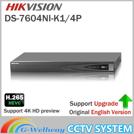 HIKVISION DS-7604NI-K1/4P 4CH POE Embedded Plug Play 4K PoE NVR for IP Camera CCTV System Upgradable HDD Selectable hikvision 1080p cctv system onvif 4ch nvr ds 7604ni e1 4p economic poe nvr plug