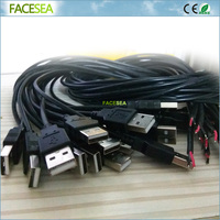 50pcs 1m 5V 2pin 2 Wire USB Cable With Type A Male USB 4 Pin Plug
