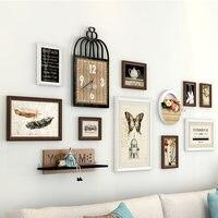 Modern Creative Wooden Photo Frame Set European Wall Hanging Photo Frame Living Room Bedroom Wall Clock Murals Decoration Design