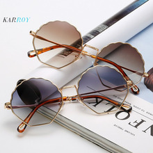 2019 New Arrival Metal Ocean Wave Flower Women Sunglasses Fashion individual Round Men Sun Glasses Eyeglasses