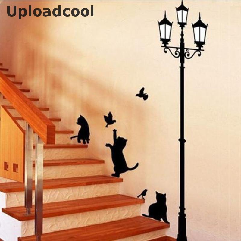 Livraison gratuite mode créative lanterne chat et oiseau papier peint Mural maison décoration chambre escaliers enfant décoration papier peint