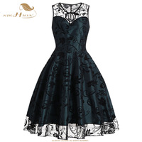 SISHION New Year Christmas Dress Women Sleeveless Green Red Summer Floral Lace Club Party Retro Rockabilly