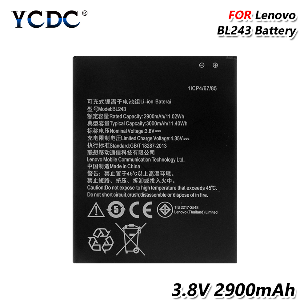 2019 Original Rechargeable 2900Mah Battery BL-243 BL243 For Lenovo A7600 A7000 A5500 A5890 K3 Note K50-T5 Lithium Battery image