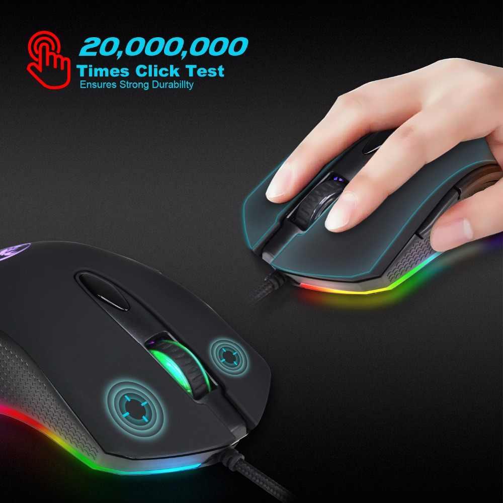 HXSJ ゲーミングマウス USB 有線マウス 6 ボタン 200-4800 dpi 光学 USB 有線デスクトップ RGB のためのバックライトゲームプレーヤー