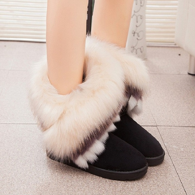 Fashion Women Snow Ankle Boots Female Wedges Fox Fur Warm Australia Winter Boots Ladies Shoes Bottes