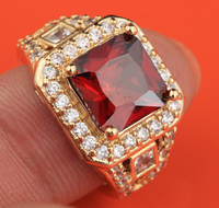 Superior Square Red Garnet Gold Color Women S Fashion Jewelry High Quality US Solitaire Rings Size