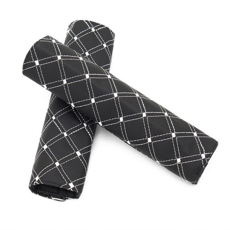 CDCOTN 2PCS/Set Car Seat Belt Shoulder Pads PU Comfortable Driving Seat Belt Protecting Cover Clip Padding Strap Auto Accessorie