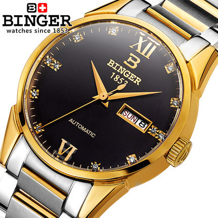 Binger 100 authentic brand automatic mechanical watch dual calendar stainless steel waterproof luxury fashion business watches