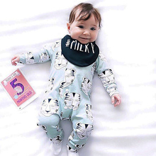 TinyPeople Baby Rompers Christmas Tiger Print Cotton Newborn Boys Romper Girls Clothes Infant Baby Clothing Long Sleeve Jumpsuit все цены