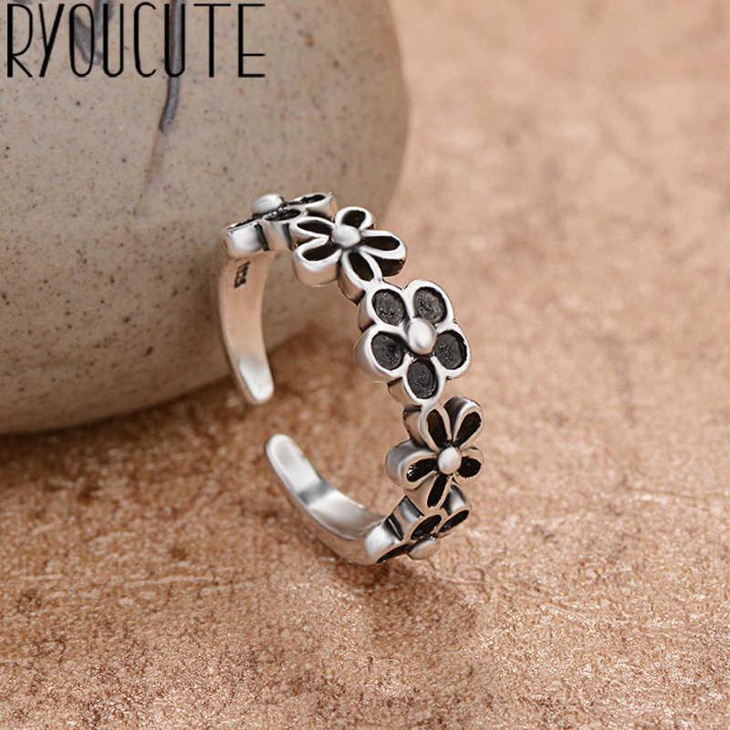 โบฮีเมียน Vintage 925 เงินสเตอร์ลิงแหวนดอกไม้สำหรับผู้หญิงแฟชั่นเครื่องประดับเครื่องประดับปรับนิ้วมือแหวนของขวัญหญิง