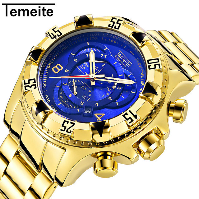 2019 Top Brand Luxury Mens Oversize Watch Gold Business Steel Quartz Clock Water