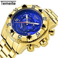 2019 Top Brand Luxury Mens Oversize Watch Gold Business Steel Quartz Clock Waterproof Sport Military Chronograph Male Wristwatch